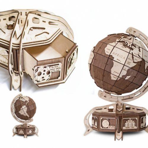 wooden city globus brązowy prezentacja