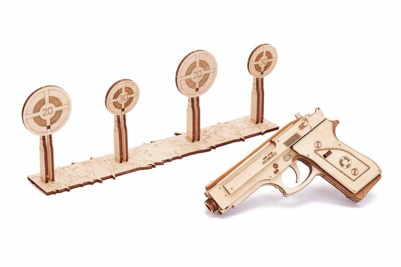 wood trick pistolet gun m1 z tarczami do strzelania