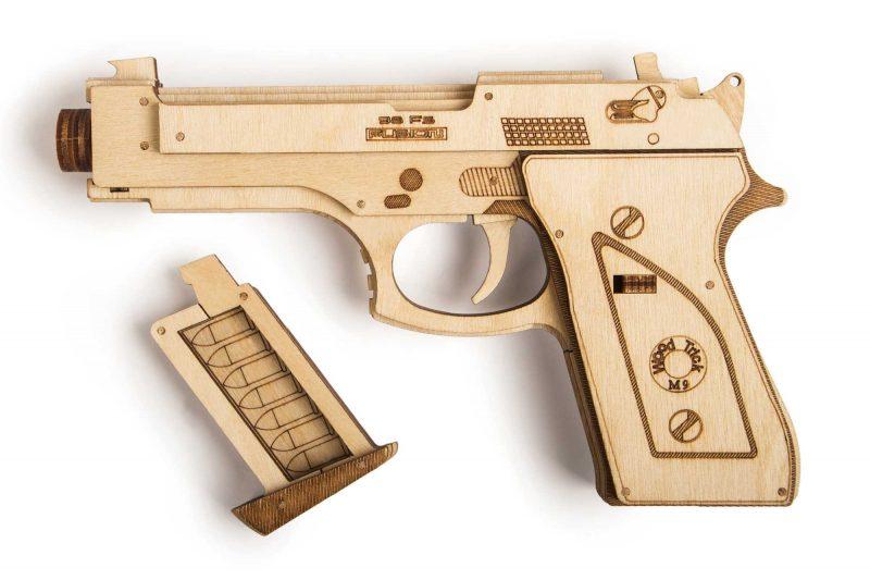 wood trick pistolet gun m1 z magazynkiem